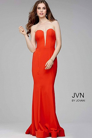 Red Strapless Sweetheart Prom Dress JVN31607