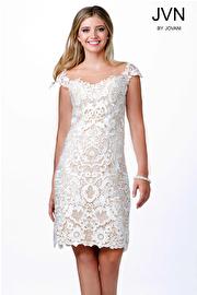Ivory Cap Sleeve Evening Dress JVN28104