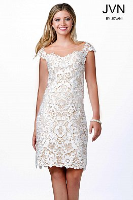 Ivory Cap Sleeve Evening Dress JVN28104