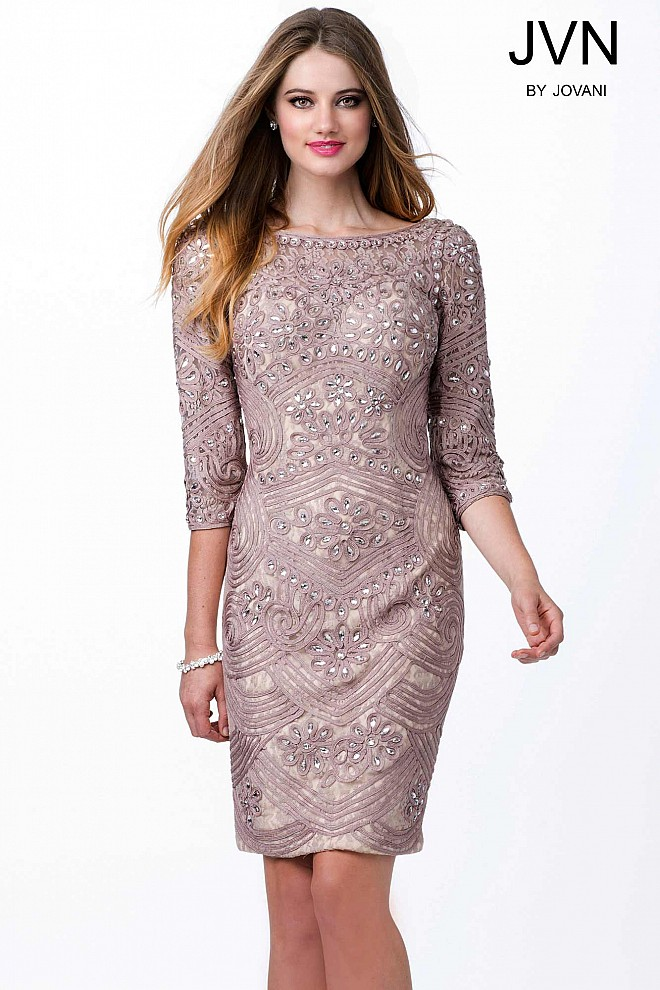 Taupe Beaded Lace Evening Dress JVN29348