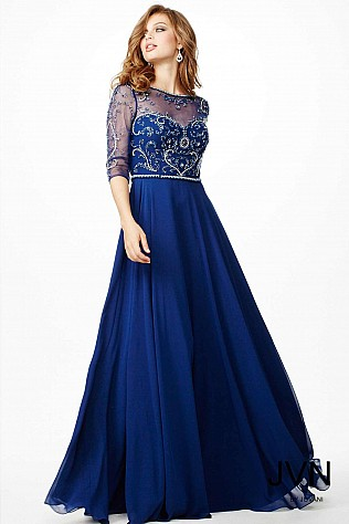 Navy Chiffon Evening Dress JVN31443
