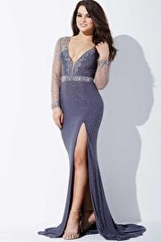 Grey Long Sleeve Evening Dress JVN36753
