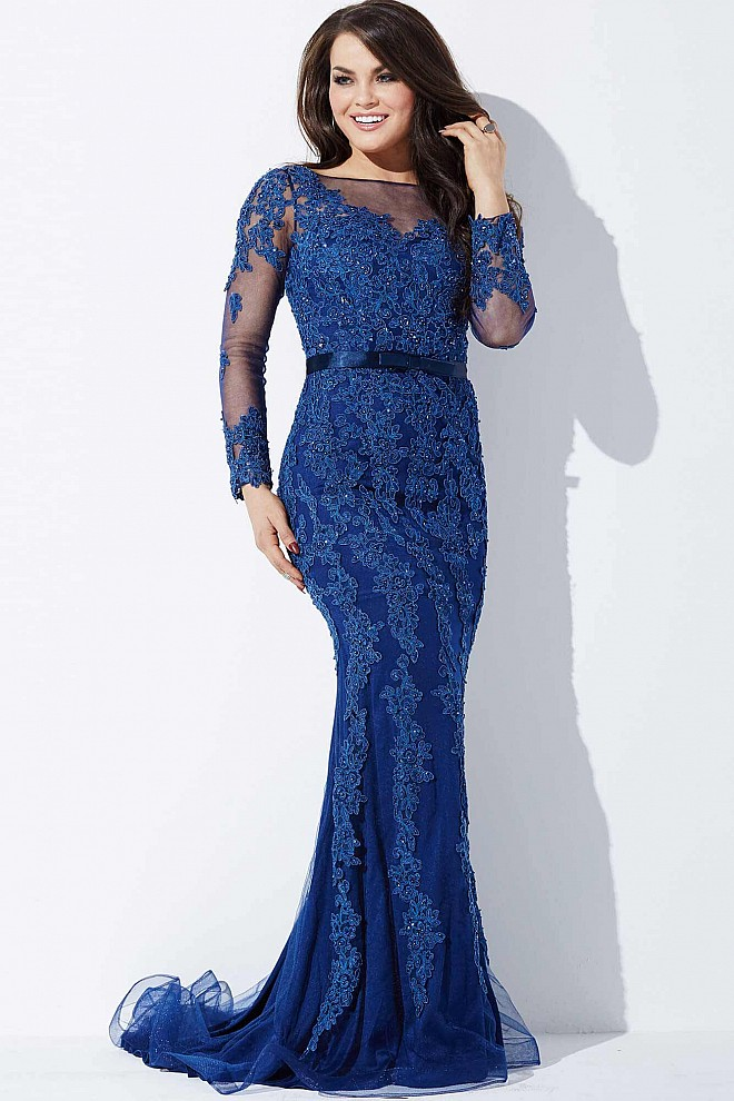 Navy Long Sleeve Lace Dress JVN36962