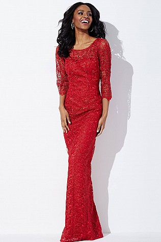 Red Long Sleeve Lace Dress JVN37217