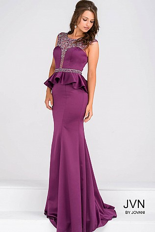 Purple Embellihsed Bodice Peplum Dress JVN45296