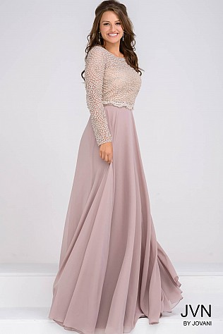 Beaded Bodice Long Sleeves Chiffon Evening Dress JVN45598