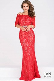 Red Fitted Three Quarter Sleeve Beaded Lace JVN47896