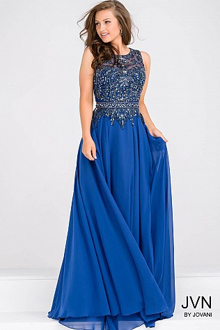 Royal Blue Sleeveless Beaded Bodice Dress JVN47898