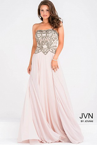 Beaded Bodice Strapless Chiffon Prom Dress JVN47914