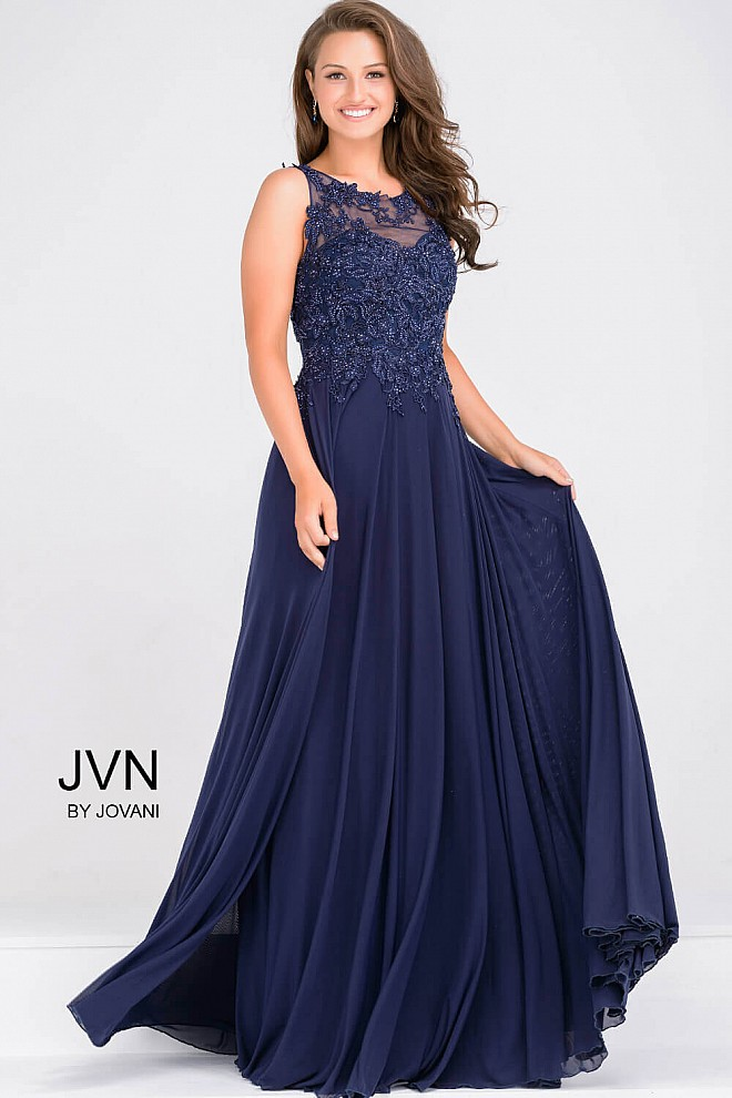 Navy Sheer Neckline Beaded Bodice Chiffon Dress JVN47950