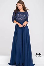 Navy Beaded Lace Three Quarter Sleeve Chiffon Dress JVN48715