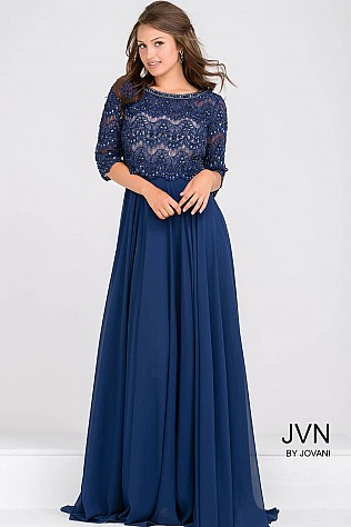 Navy Beaded Lace Three Quarter Sleeve Chiffon Dress JVN48715