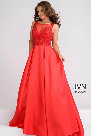 Red Sheer Neckline Pleated Skirt Ballgown JVN48835