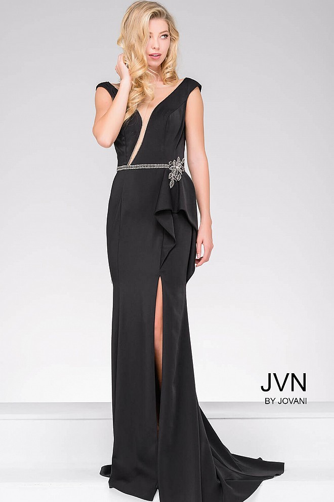 Black Sleeveless Long High Slit Evening Dress JVN50372