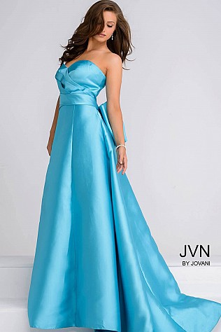 Turquoise Sweetheart Neck Layered Bust Evening Dress JVN94279