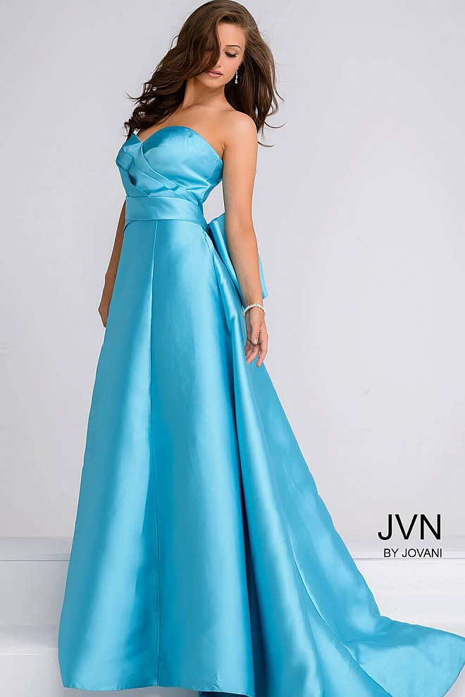Turquoise Taffeta layered bodice long prom ballgown with bow in the ...