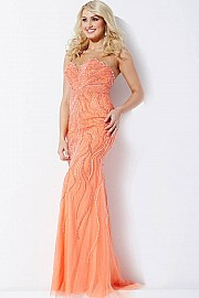 Gunmetal/Nude Strapless Beaded Dress JVN33692
