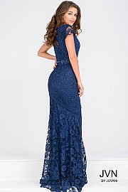 Navy Cap Sleeves Fitted Lace Dress JVN43755