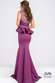Purple Embellished Bodice Peplum Dress JVN45296