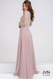 Beaded Bodice Long Sleeves Chiffon Evening Dress JVN45598