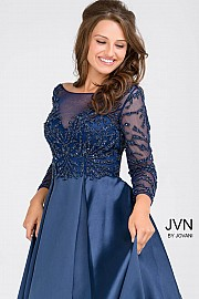 Navy Long Sleeve Boat Neckline Pleated Skirt Evening Dress JVN48833