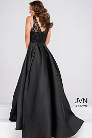 Black Beaded Sleeveless Pleated Skirt Dress JVN48836