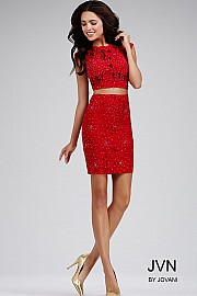 Red Jeweled Two Piece Dress 28783