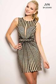 Black Crystal Beaded Short Dress JVN26777