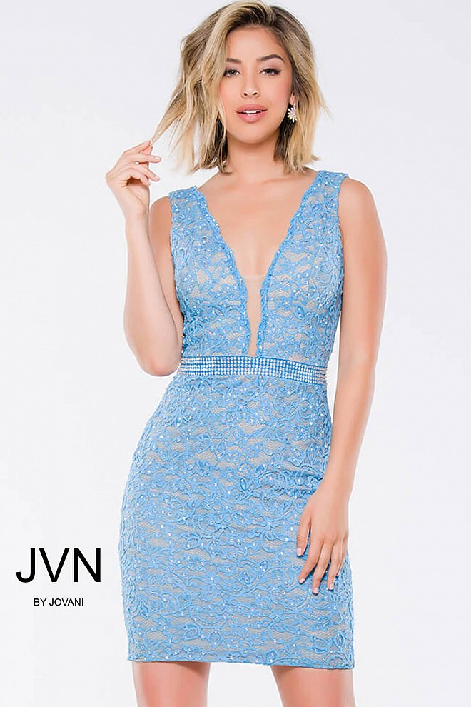 Blue Lace Fitted Sleeveless Low V-Neck Short Dress JVN27093