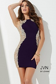 Jvn Purple Matte Jersey Short Dress JVN27515
