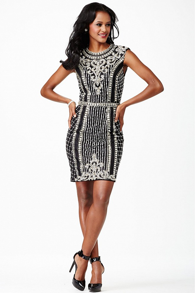 Black Crystal Embellished Dress JVN27609