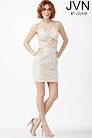Jvn Ivory Sleeveless Cocktail Dress JVN31437