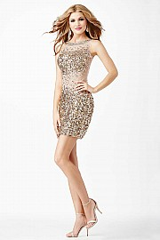 Gold Jeweled Short Dress JVN31860