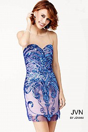Blue Illusion Sequined Dress JVN31894