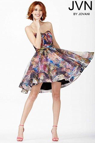 Multi Strapless Short Dress JVN32224