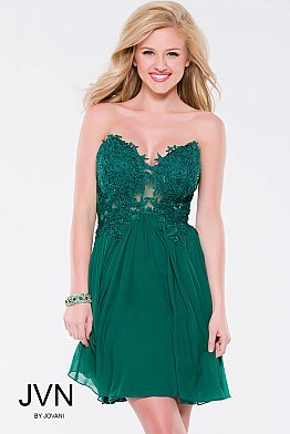 Green Strapless Lace Mesh Short Dress JVN35000