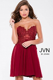 Burgundy Strapless Lace Mesh Short Dress JVN35000