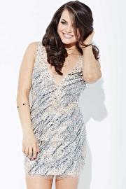 Nude Crystal Embellished Short Dress JVN37092