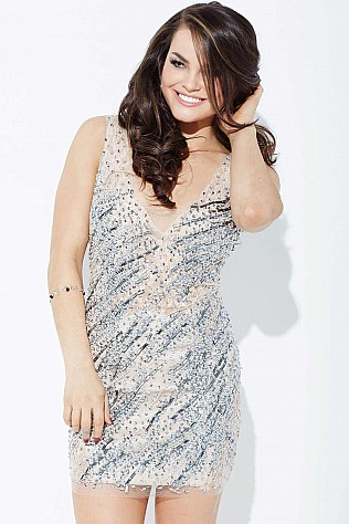 Nude Crystal Embellished Short Dress JVN37092