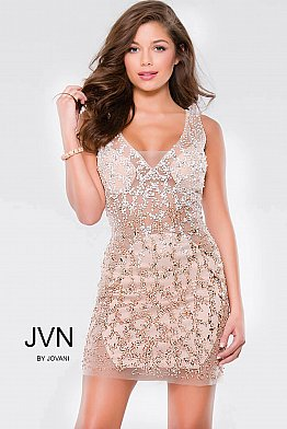 Gold Nude Beaded Sexy Sleeveless Short Dress JVN37093