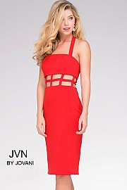 Red Halter Cutout Jersey Dress JVN37497
