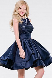 Navy Sleeveless Fit and Flare Dress JVN37597