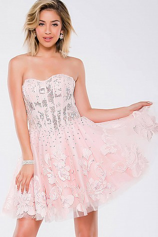 Pink Strapless Fit and Flare Embellished Short Dress JVN37882