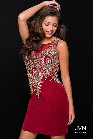 Burgundy Embellished Form Fitting Sleeveless Short Dress JVN40891