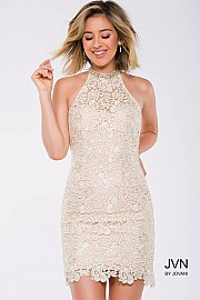 Ivory Lace Fitted Halter Neck Short Dress JVN40859