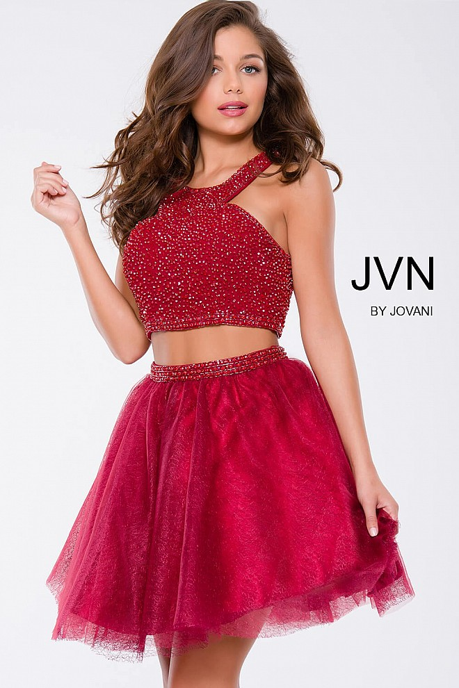 Red Beaded Two-Piece Fit and Flare Short Dress JVN41345