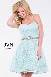 Pink Strapless Sweetheart Fit and Flare Short Dress JVN41423