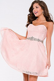 Jvn Pink Strapless Sweetheart Fit and Flare Short Dress JVN41423