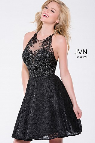 Black Embellished Fit and Flare Backless Short Dress JVN41426