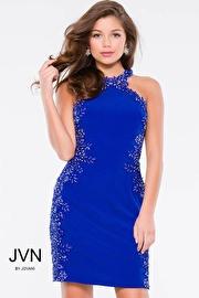 Royal Form Fitting Embellished Sleeveless Short Dress JVN41427